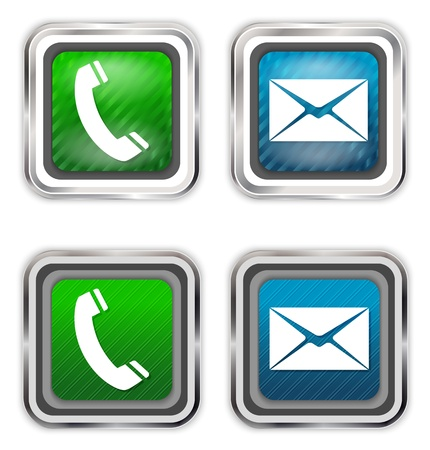 make a call: Phone and mail web design elements.  Illustration