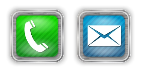 make a call: Phone and mail web design elements on brushed metal.