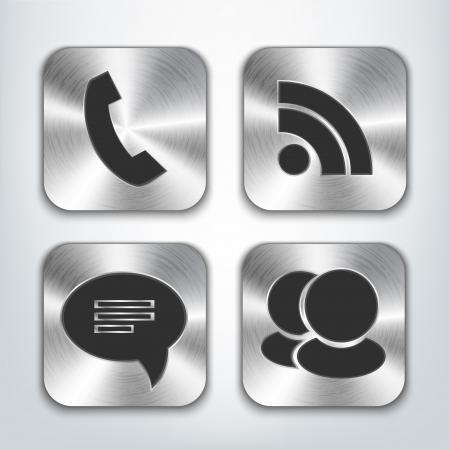 rss sign: Communication brushed metal app icons. Illustration