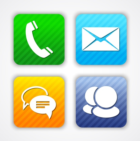 make a call: Communication app icons and web elements.