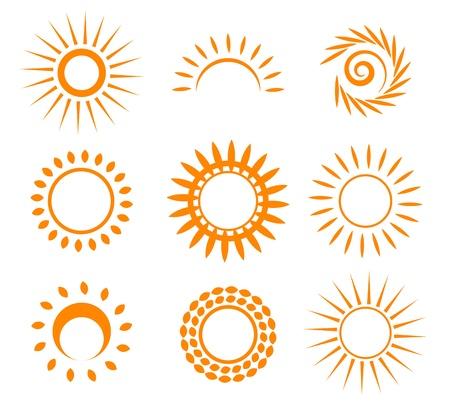 rayos de sol: Puesta del sol simbólico. Vectores