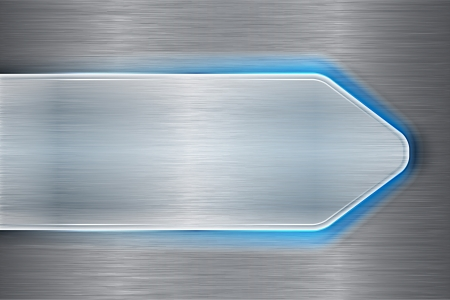 Brushed metal arrow with blue laser light on brushed metallic backdrop. Abstract background. Vector illustration Vector