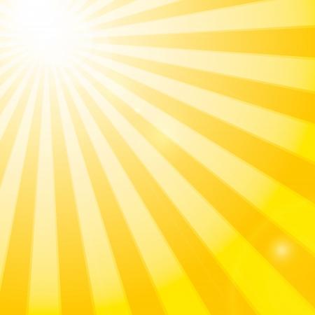 Stralende zon in de helder blauwe hemel. Vector illustratie Stock Illustratie