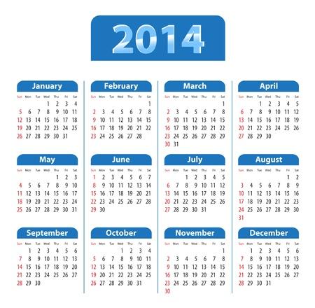 Blue glossy calendar for 2014. Sundays first. Vector illustration Illustration