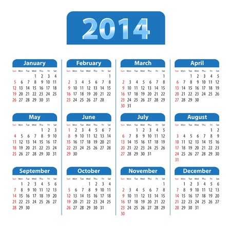 Blue glossy calendar for 2014. Sundays first. Vector illustration Ilustrace