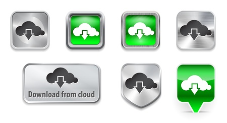 Download from cloud web elements with icon. Vector illustration Vector