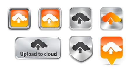 Collection of Upload to cloud metallic and glossy buttons. Vector illustration Vector