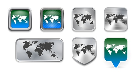 somewhere: Collection of World map on brushed metallic and glossy buttons. Vector illustration