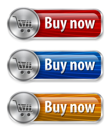 buy online: Metallic and glossy web elements with curved lines background for online shopping. Vector illustration