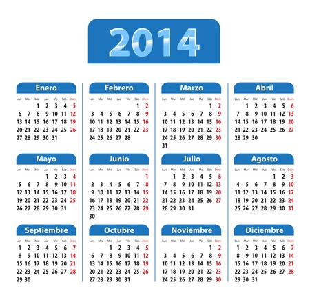Blue glossy calendar for 2014 in Spanish  Mondays first illustration Stock Vector - 21324783