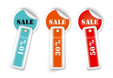 Sale sticker style sign with attached labels illustration Stock Vector - 21324960
