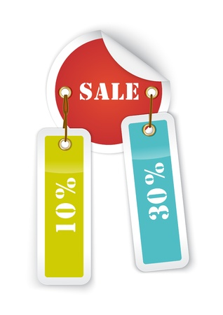 Sale sticker style sign with hanging labels  Vector