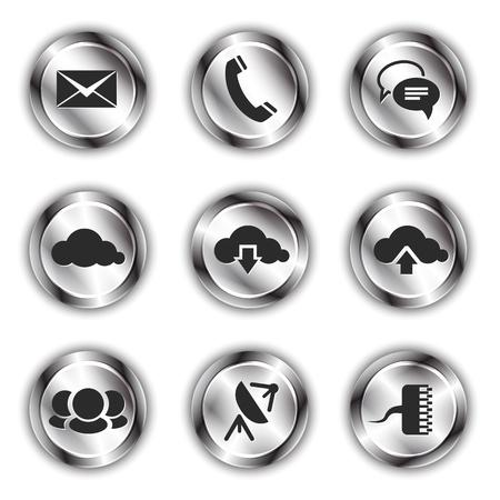 Communication icons on shiny metallic backdrops Stock Vector - 21325012