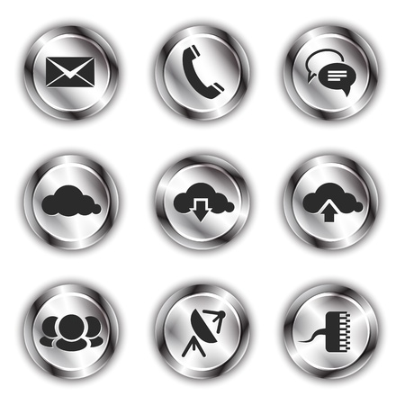Communication icons on shiny metallic backdrops Stock Vector - 21325012