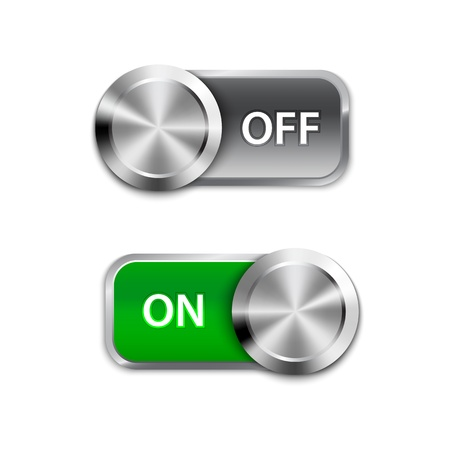 boton on off: Activar Activar y desactivar posici�n de encendido  apagado deslizadores. Vectores