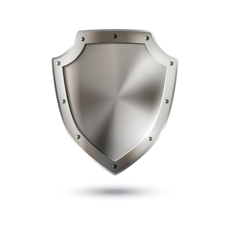 metal shield: Shiny metallic shield on white.