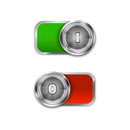 kippschalter: Kippschalter ein-und ausschalten Position, Ein  Aus Schieberegler. Illustration