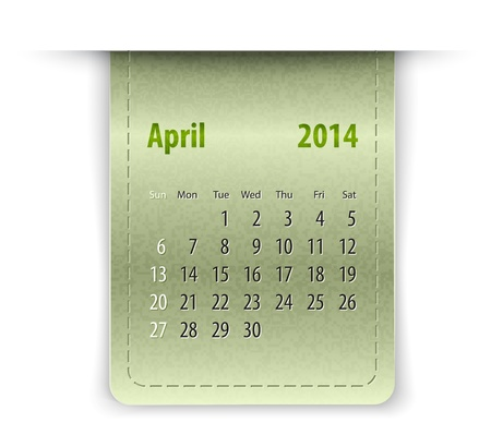 inset: Glossy calendar for April 2014 on leather texture. Sundays first.