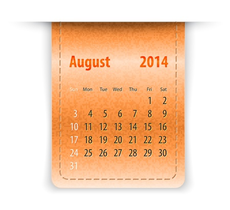 sundays: Glossy calendar for August 2014 on leather texture. Sundays first.