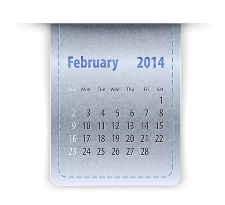 inset: Glossy calendar for February 2014 on leather texture. Sundays first.