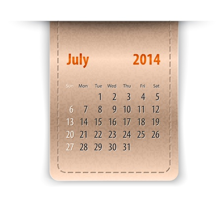 inset: Glossy calendar for July 2014 on leather texture. Sundays first.