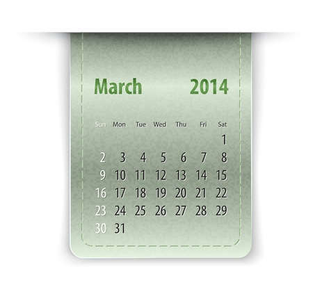 inset: Glossy calendar for March 2013 on leather texture. Sundays first.