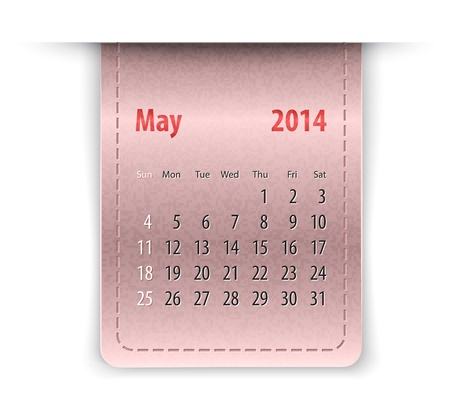 Glossy calendar for May 2014 on leather texture. Sundays first. Stock Vector - 21324672