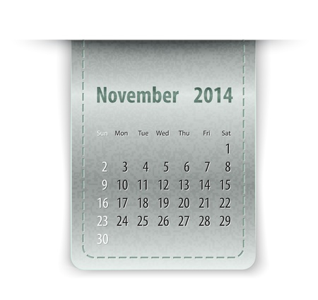 inset: Glossy calendar for November 2014 on leather texture. Sundays first.