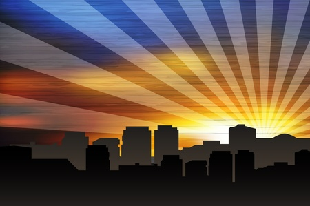 sunrays: Cityscape at sunset with sunrays.  Illustration