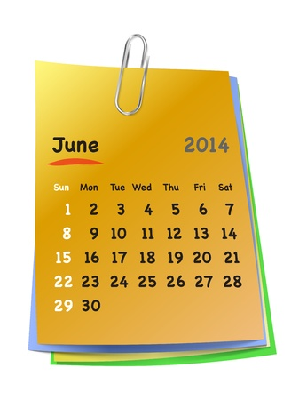 Calendar for June 2014 on colorful sticky notes attached with metallic clip. Sundays first. Vector