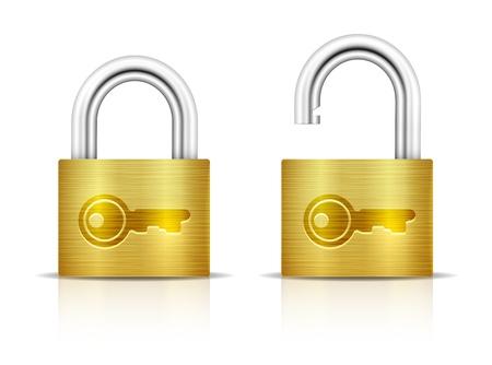 Metallic Padlock. Locked and unlocked Padlocks isolated on white background. Key embossed on padlock. Vector