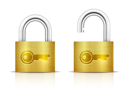 Metallic Padlock. Locked and unlocked Padlocks isolated on white background. Key embossed on padlock. Stock Vector - 21324649