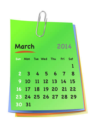clinch: Calendar for March 2014 on colorful sticky notes attached with metallic clip. Sundays first.  Illustration