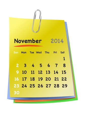 Calendar for November 2014 on colorful sticky notes attached with metallic clip. Sundays first.  Vector