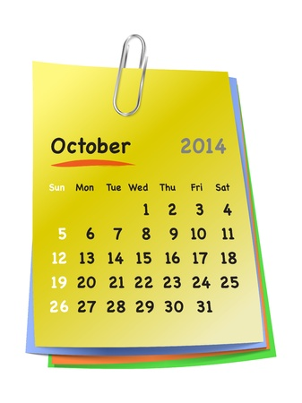 Calendar for October 2014 on colorful sticky notes attached with metallic clip. Sundays first.  Vector