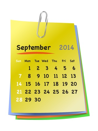Calendar for September 2014 on colorful sticky notes attached with metallic clip. Sundays first. Vector