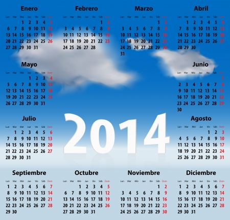 mondays: Calendar for 2014 year in Spanish with clouds in the blue sky  Mondays first
