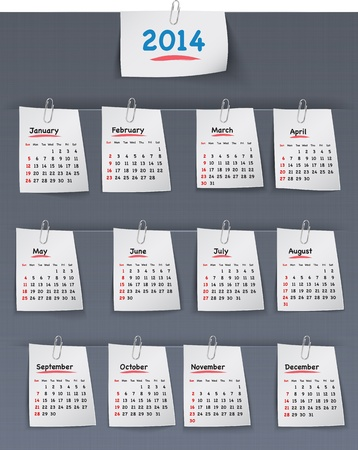 clipped: Calendar for 2014 year on sticky notes attached to the linen background with paper clips  Sundays first  Illustration