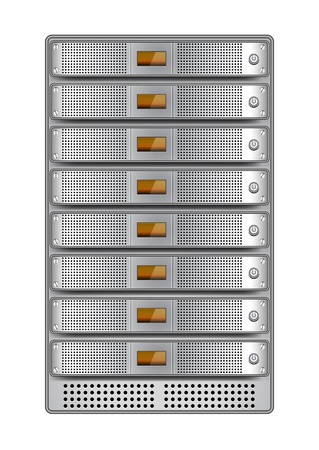 Servers in installed in rack.  Vector