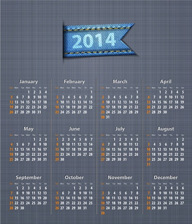 linen texture: Calendario con estilo para el a�o 2014 en la textura de lino con la inserci�n de los pantalones vaqueros.