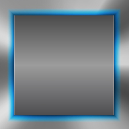 Abstract background with metal inset and blue light. Vector illustration Vector