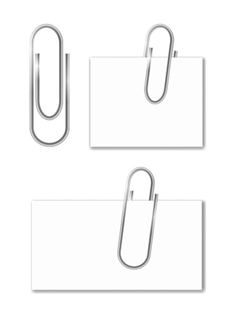 paper fastener: Paper clips isolated on white. Vector illustration  Illustration