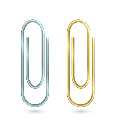 Paper clips isolated on white. Vector illustration Illustration
