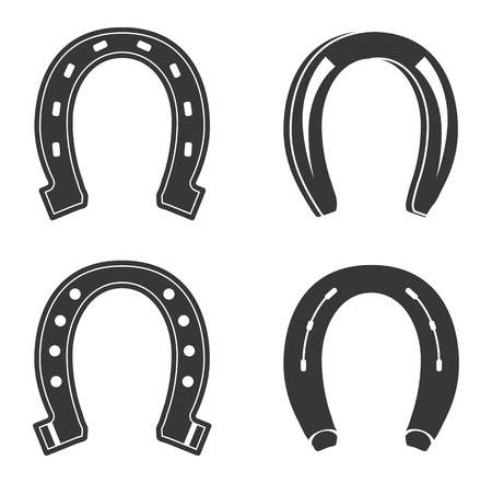 horse drawn: Set of Horseshoe icons isolated on white background.