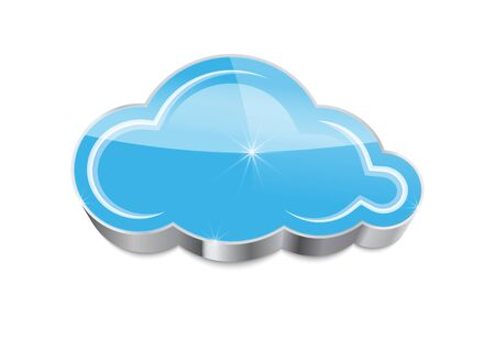 archive site: Cloud computing concept  glossy blue cloud icon isolated on white background  Vector illustration