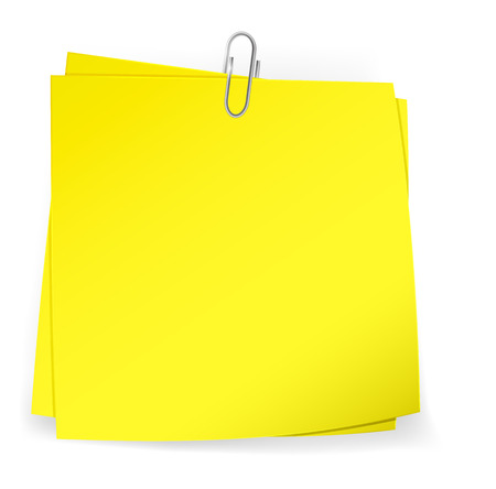 attached: Colorful sticky notes attached with metallic paper clip. Vector Illustration