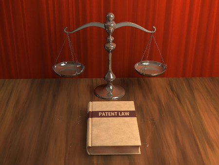 patent leather: Illustration of scale and patent law book on the table