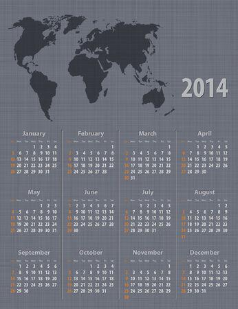 Stylish calendar 2014 world map linen texture. Sundays first. Vector illustration Vector