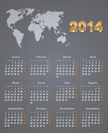 linen texture: Spanish calendar for 2014 with world map on linen texture. Mondays first. Vector illustration