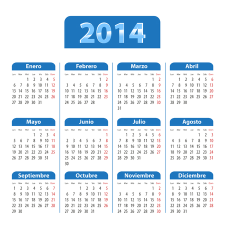 mondays: Blue glossy calendar for 2014 in Spanish. Mondays first. Vector illustration